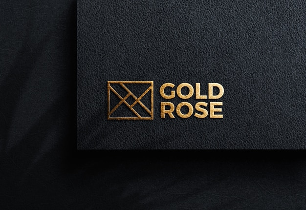 Luxury logo mockup on black craft paper