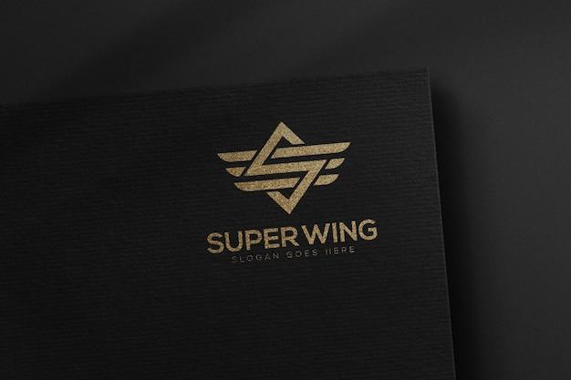 Luxury logo mockup on black paper template
