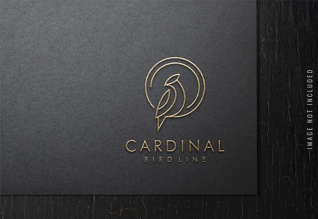 Luxury logo mockup on black paper