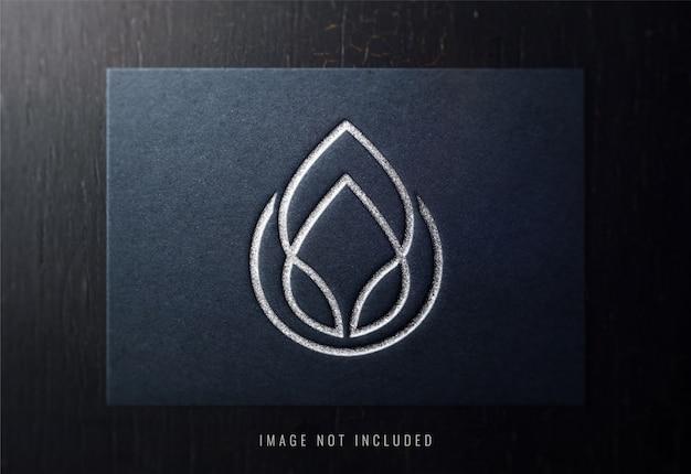 Luxury logo mockup on black paper