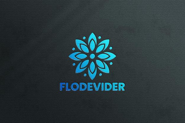 Luxury logo mockup on blue background