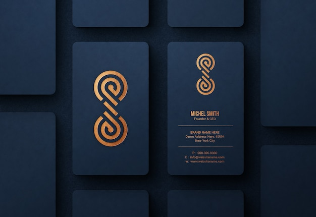 Luxury logo mockup on blue business card