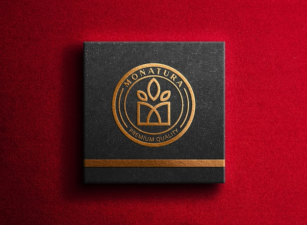 Luxury logo mockup on box