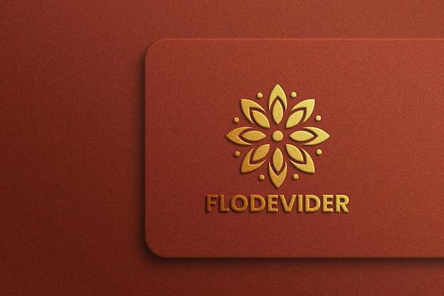 Luxury logo mockup on brown background
