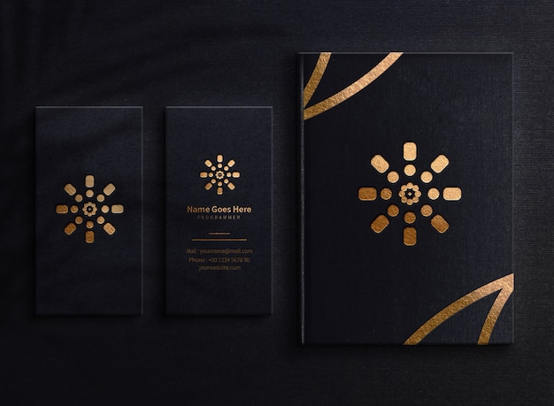 Luxury logo mockup business card and book