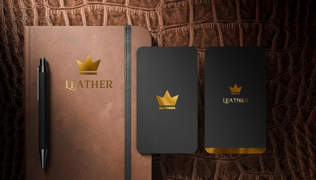 Luxury logo mockup business card and leather diary