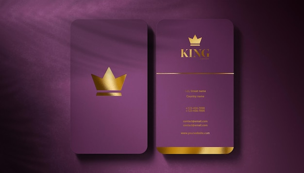 Luxury logo mockup business card on purple velvet background