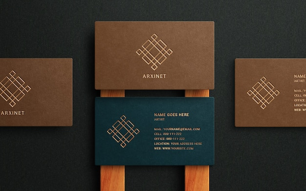 Luxury logo mockup on business card with gold foil effect