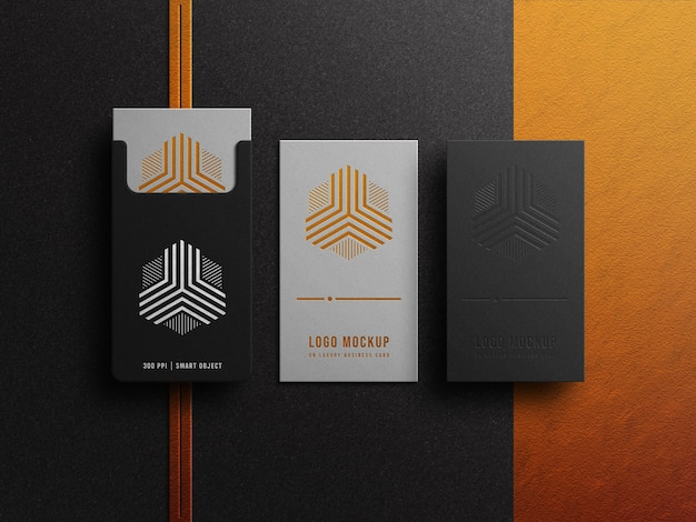 Luxury logo mockup on business card with gold and silver effect