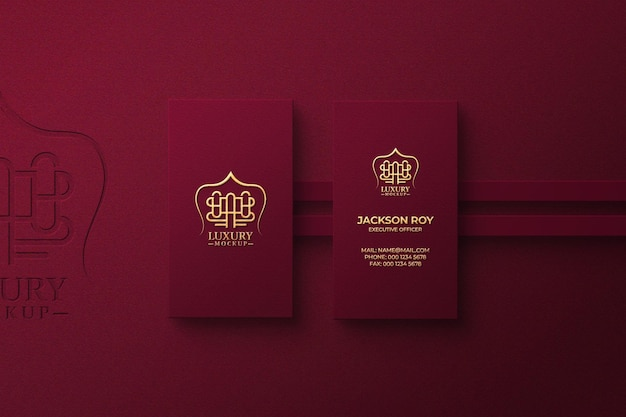 Luxury logo mockup on business card with golden effect