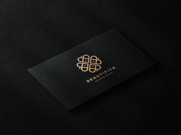 Luxury logo mockup on business card with shadow overlay
