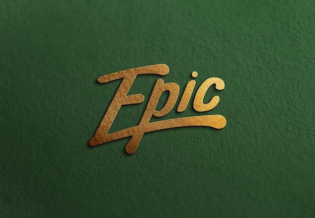Luxury logo mockup on craft paper