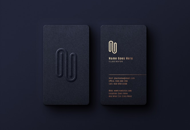 Luxury logo mockup on dark business card