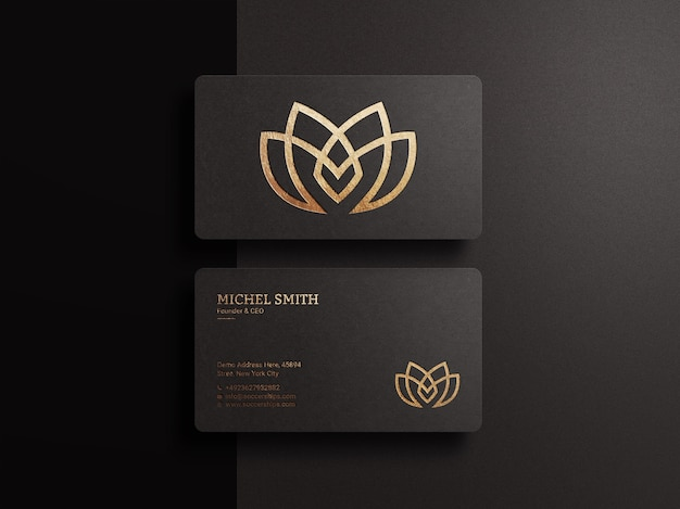 Luxury logo mockup on dark business card