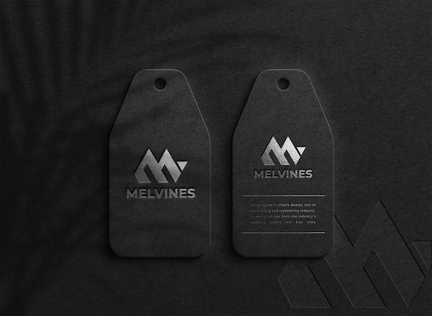 Luxury logo mockup on dark hang tag