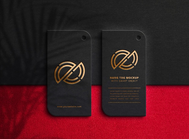 Luxury logo mockup on dark hang tag