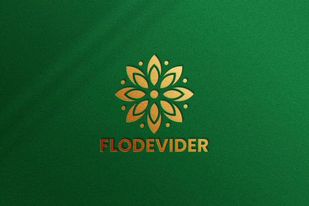 Luxury logo mockup on green background