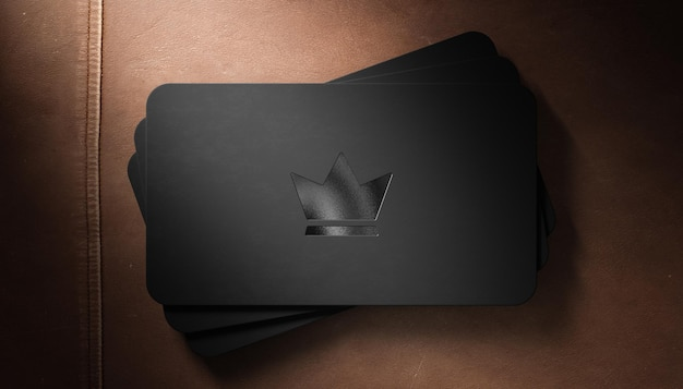 Luxury logo mockup letterpress on black business card