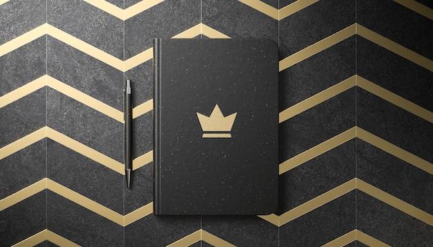 3dレンダリングで黒の日記に豪華なロゴのモックアップ