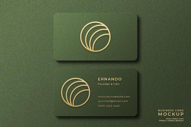 Роскошный макет логотипа на горизонтальной визитной карточке