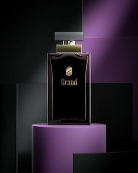 Роскошный макет логотипа на абстрактном фиолетовом фоне флакона духов