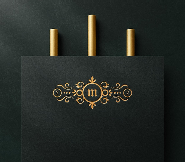 Luxury logo mockup on paper with letterpress effect