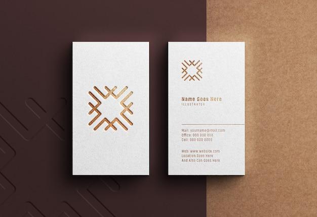 Luxury logo mockup on portrait white business card