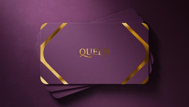 Luxury logo mockup on purple business card velvet background