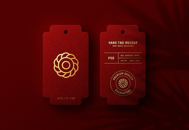 Luxury logo mockup on red hang tag