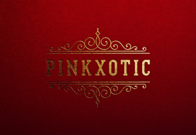 Luxury logo mockup on red paper