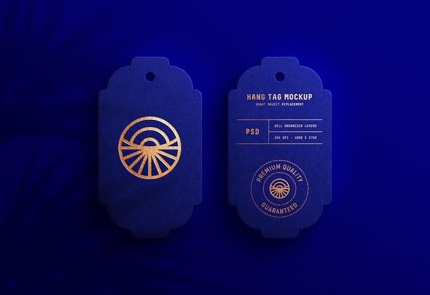 Luxury logo mockup on royal blue hang tag