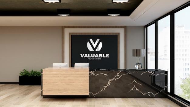 Роскошный знак макета логотипа в приемной в помещении офиса