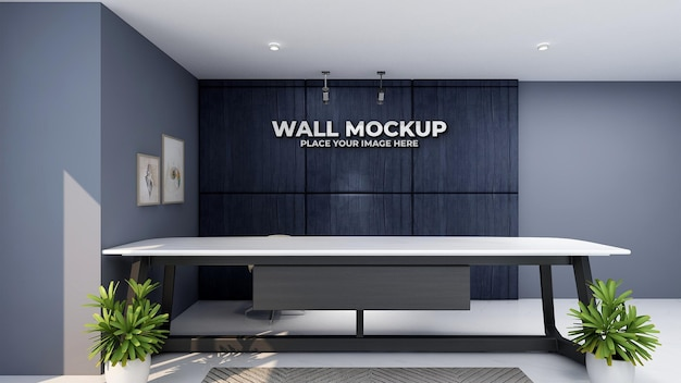 Роскошный знак макета логотипа в офисе администратора
