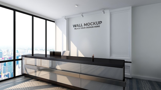 Luxury logo mockup sign in the receptionist indoor hotel office room