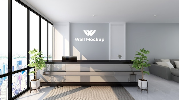 Luxury logo mockup sign in the receptionist office room