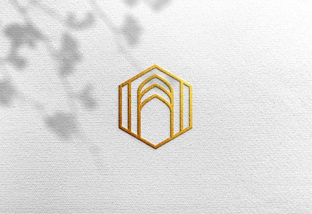 Luxury logo mockup on white craft paper