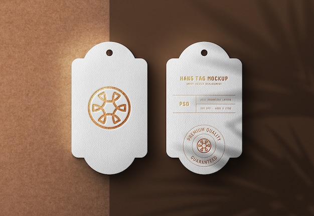 Luxury logo mockup on white hang tag