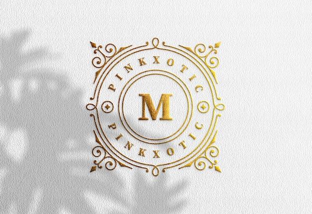 Luxury logo mockup on white kraft paper