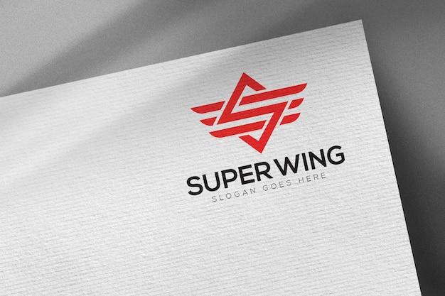 Luxury logo mockup on white paper template
