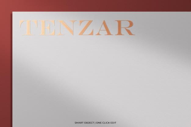 Luxury logo mockup on white paper