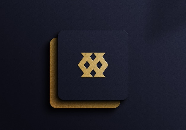 Luxury logo mockup with gold foil on  dark blue background