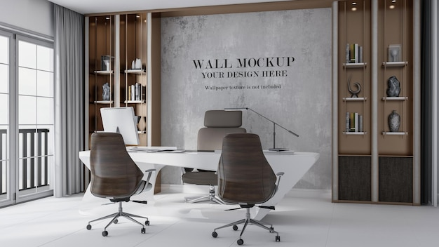 Luxury manager room mockup wall
