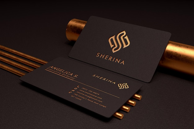 Luxury and minimalist logo mockup on dark business card