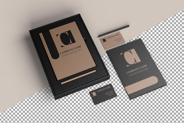 高級モックアップブランディングステーショナリーカードネームブックペンシルボックス