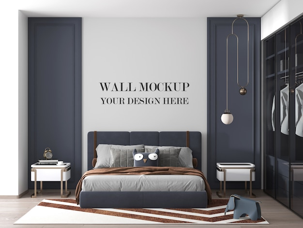 Luxury modern bedroom wall mockup