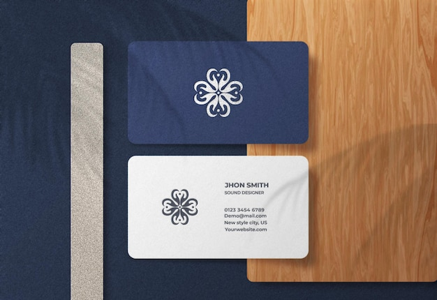 Luxury and modern business card logo mockup with embossed effect