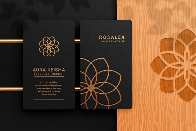 Luxury and modern logo mockup on black vertical business card