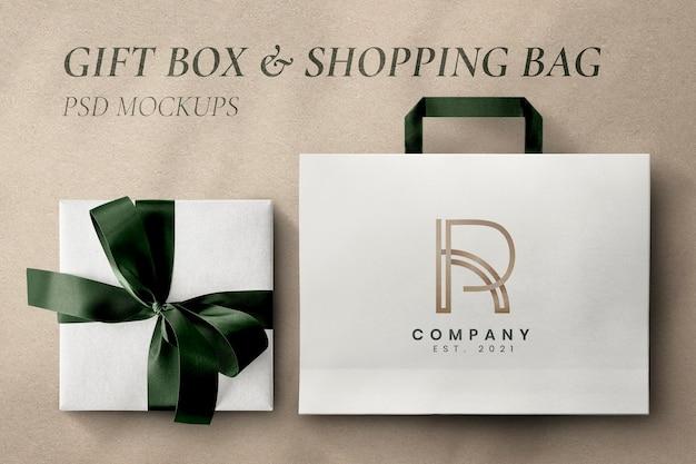 Роскошный макет упаковки psd с подарочной коробкой и сумкой
