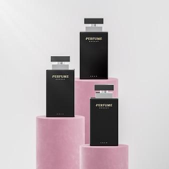 브랜드 정체성의 럭셔리 향수 병 로고 모형 3d 렌더링