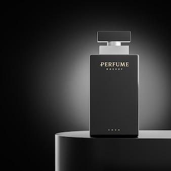 브랜드 프리젠 테이션을위한 검은 배경에 럭셔리 향수 로고 모형 3d 렌더링